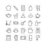 概述厨房象的汇集 变薄网的线性象,流动apps 免版税图库摄影