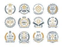 概述啤酒象征,标志,象,客栈标签,徽章汇集 免版税图库摄影