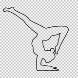概述图妇女手倒立在透明背景,剪影女孩做立场在手,瑜伽姿势 库存例证