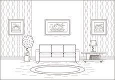 概述在平的设计的室内部 也corel凹道例证向量 免版税库存图片
