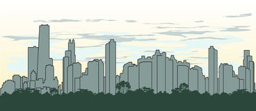 概述城市的剪影绿色的 库存图片