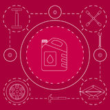 概述汽车服务和诊断的设计元素 机器汽车机械师修理  技工工具和设备 库存图片