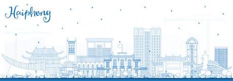 概述海防越南与蓝色大厦的市地平线 向量例证