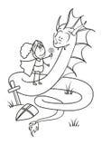 概述的骑士和龙 免版税库存图片