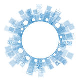 概述蓝色颜色的城市摩天大楼与拷贝空间 免版税库存图片