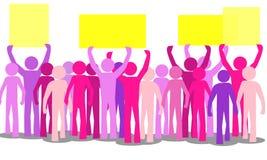 概述许多五颜六色愤怒人抗议 免版税库存照片