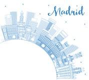 概述马德里西班牙与蓝色大厦和拷贝S的市地平线 向量例证