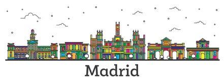 概述马德里西班牙与被隔绝的颜色大厦的市地平线 向量例证