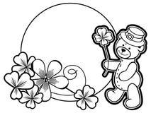 概述围绕与三叶草等高和玩具熊的框架 光栅 库存照片