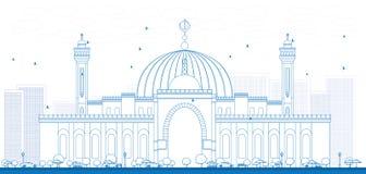 概述Al Fateh盛大清真寺在麦纳麦市 免版税库存图片