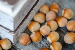 榛子堆在木板箱和在木桌,有选择性的foc上 库存照片