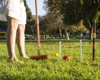 槌球在公园 免版税库存图片