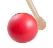 槌球木球和短槌 库存照片