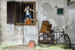 槟榔岛壁画乔治城马来西亚 库存图片