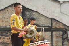 槟榔岛马来西亚中国新的肯定,狮子danse鼓 库存图片