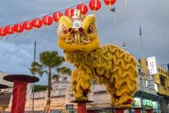 槟榔岛马来西亚中国新的肯定,狮子danse 免版税库存图片