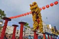 槟榔岛马来西亚中国新的肯定,狮子danse 库存图片
