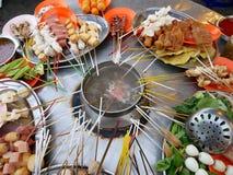 从槟榔岛,马来西亚的街道食物Lok-Lok 库存图片