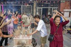 槟榔岛,马来西亚- 2011 2月03日,中国新的肯定 免版税库存照片