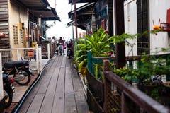 槟榔岛,马来西亚建筑学狭窄街道 库存照片