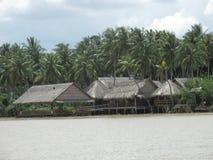 槟知,越南,浮动房子 库存照片