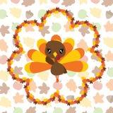 槭树叶子的逗人喜爱的火鸡女孩缠绕感恩` s天卡片设计的动画片例证 免版税库存照片