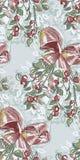 槲寄生圣诞节新年蓝色桃红色无缝的样式油漆织地不很细传染媒介 库存例证