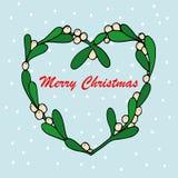 槲寄生小树枝的手拉的传染媒介例证圣诞卡的 免版税库存照片