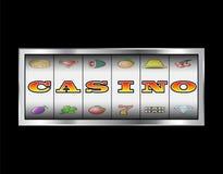 槽孔卷赌博娱乐场标志 免版税库存图片