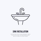 水槽,洗手间平的线象 与龙头标志的陶瓷washbowl 房子设备商店或配管的传染媒介例证 免版税图库摄影