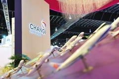 樟宜机场小组(CAG)陈列的航空器摊在新加坡Airshow塑造 免版税库存照片