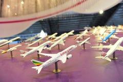 樟宜机场小组(CAG)陈列的航空器摊在新加坡Airshow塑造 免版税图库摄影