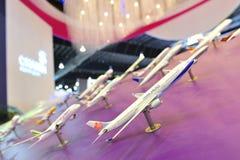 樟宜机场小组(CAG)陈列的航空器摊在新加坡Airshow塑造 库存图片