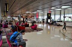 樟宜机场终端4离开的乘客登记区域 库存照片