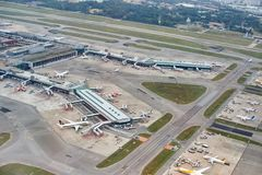 樟宜机场鸟瞰图  免版税图库摄影
