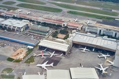 樟宜机场鸟瞰图  免版税库存照片