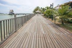 樟宜点木板走道在新加坡 库存图片
