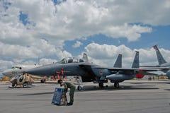 樟宜,新加坡- 2月6,2010 :美国空军F-15E罢工老鹰喷气式歼击机 库存照片