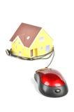 模型房子和计算机鼠标 库存照片