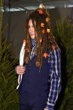 模型摆在佩带的尼克格雷姆在纽约时尚星期人的秋天期间/冬天2016年 免版税库存照片