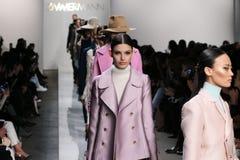模型步行齐默尔曼时装表演的跑道在奔驰车时尚星期秋天期间2015年 免版税库存图片