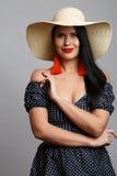 模型照片在帽子的 库存照片
