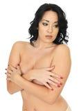 模型的性感的肉欲的含蓄的露胸部的Pin 免版税库存图片