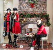 模型穿戴了与从最新的冬天时尚收藏的后台豪华衣物和 免版税库存照片