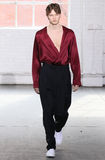 模型走跑道在Duckie布朗时装表演在奔驰车时尚星期秋天期间2015年 图库摄影