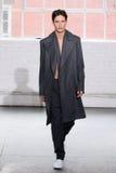 模型走跑道在Duckie布朗时装表演在奔驰车时尚星期秋天期间2015年 免版税库存图片