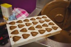 模子特写镜头用在搅拌机的熔化巧克力填装了 免版税库存图片