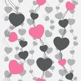 模式减速火箭无缝 桃红色心脏和小点在米黄背景 免版税库存照片