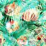 模式无缝热带 橙红花,在绿色背景的棕榈叶 免版税库存照片