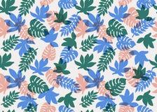 模式无缝热带 热带植物和棕榈叶在珊瑚、小野鸭和蓝色颜色 背景细部图花卉向量 方式 库存照片
